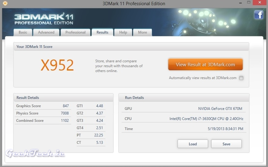 Toshiba Qosmio 3DMark X Score