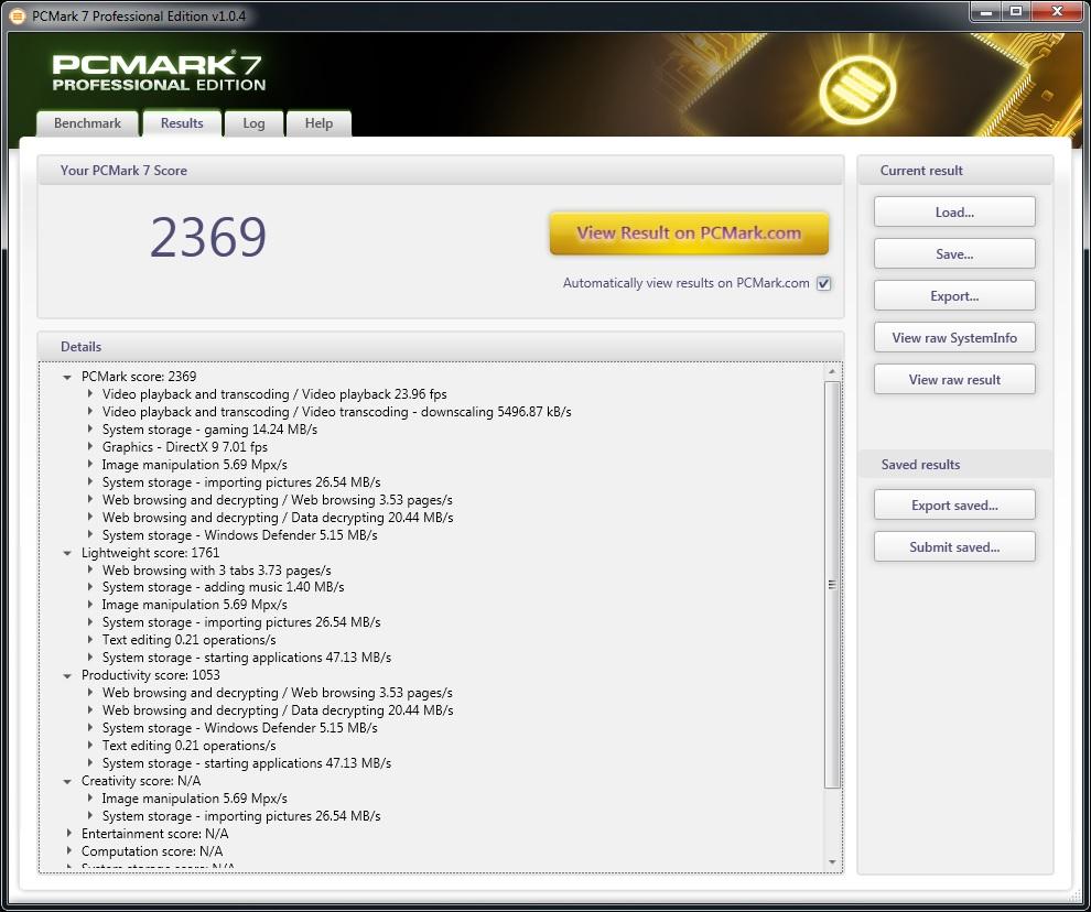 U920 PCMark 7 benchmark
