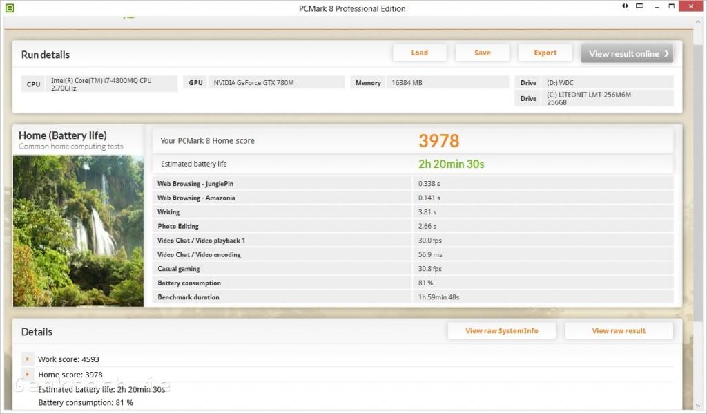 Alienware 17  PC Mark 8 battery benchmark Optimus on