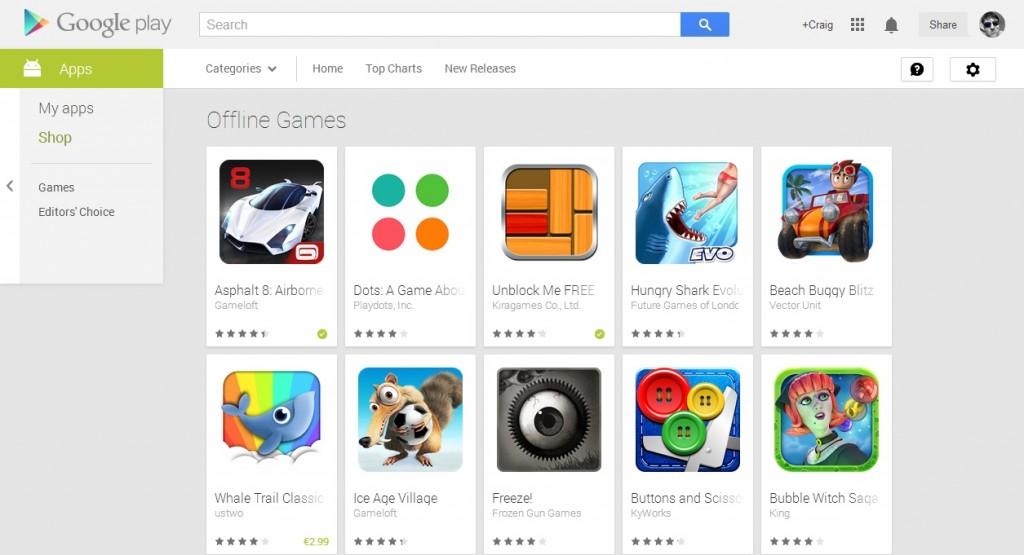 Google play store offline categorey